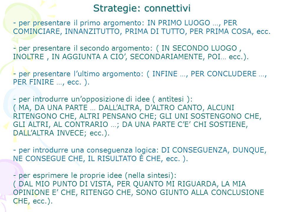 Strategie: connettivi - per presentare il primo argomento: IN PRIMO LUOGO …, PER COMINCIARE, INNANZITUTTO, PRIMA DI TUTTO, PER PRIMA COSA, ecc. - per