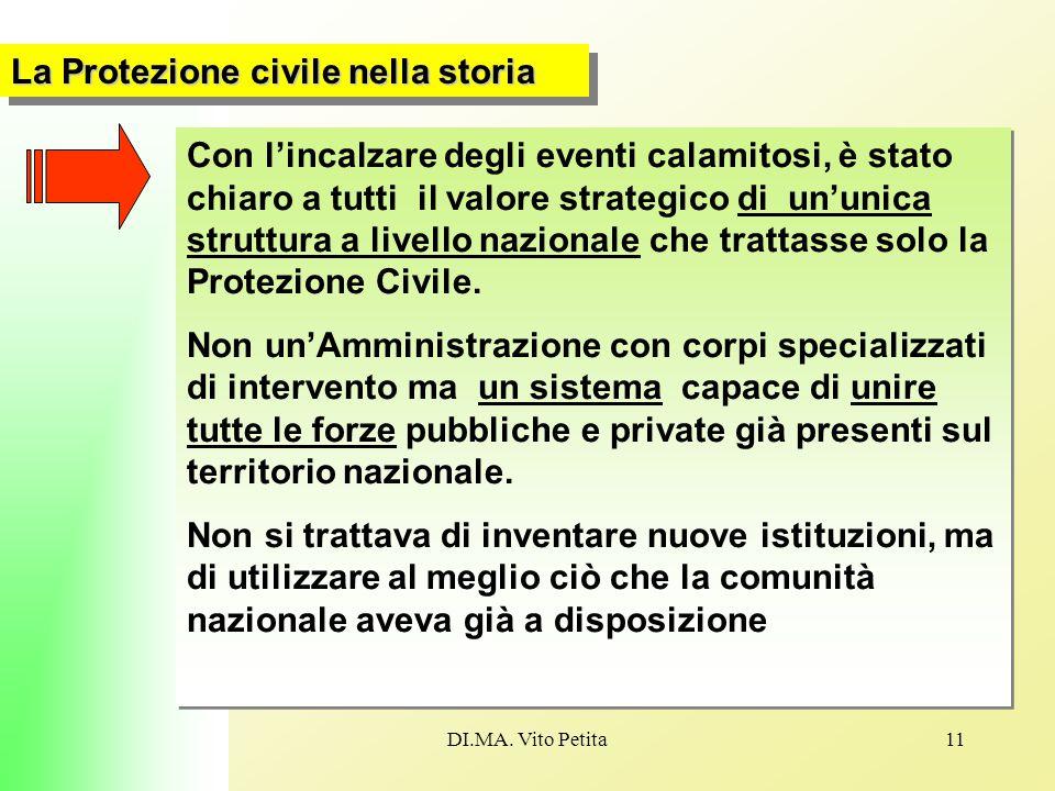 DI.MA. Vito Petita11 La Protezione civile nella storia Con l'incalzare degli eventi calamitosi, è stato chiaro a tutti il valore strategico di un'unic