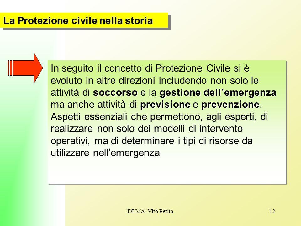 DI.MA. Vito Petita12 La Protezione civile nella storia soccorsogestione dell'emergenza previsione prevenzione In seguito il concetto di Protezione Civ