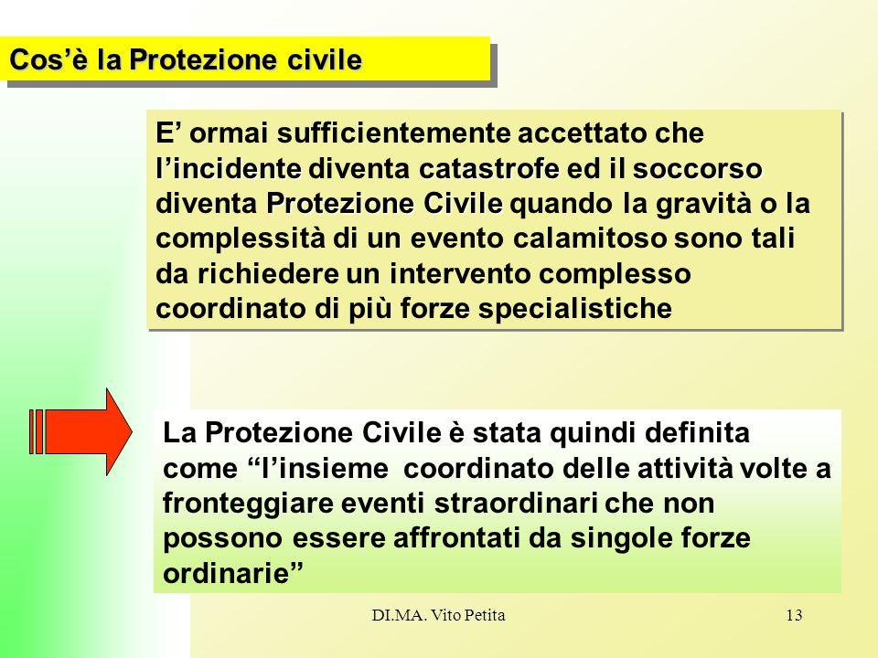 DI.MA. Vito Petita13 Cos'è la Protezione civile l'incidentecatastrofesoccorso Protezione Civile E' ormai sufficientemente accettato che l'incidente di