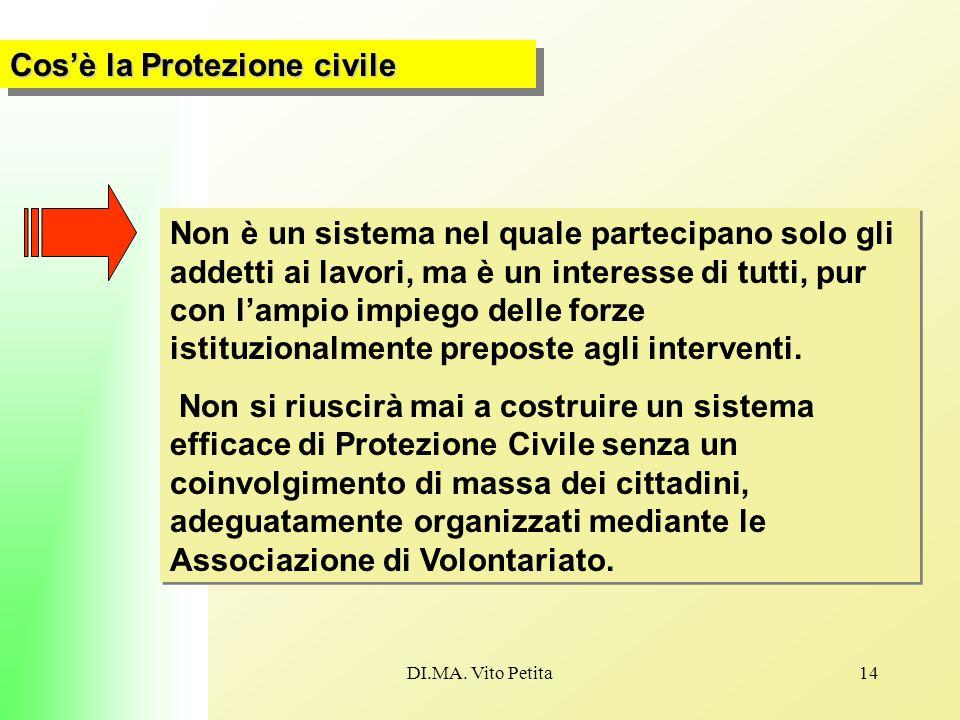 DI.MA. Vito Petita14 Cos'è la Protezione civile Non è un sistema nel quale partecipano solo gli addetti ai lavori, ma è un interesse di tutti, pur con