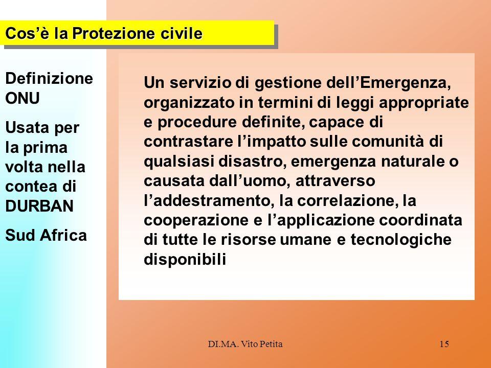 DI.MA. Vito Petita15 Un servizio di gestione dell'Emergenza, organizzato in termini di leggi appropriate e procedure definite, capace di contrastare l
