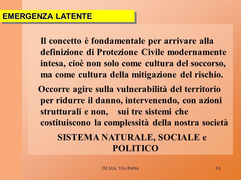 DI.MA. Vito Petita18 Il concetto è fondamentale per arrivare alla definizione di Protezione Civile modernamente intesa, cioè non solo come cultura del
