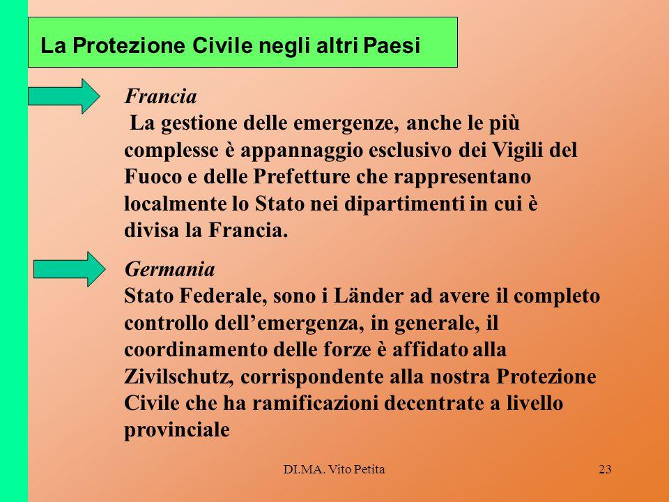 DI.MA. Vito Petita23 La Protezione Civile negli altri Paesi Francia La gestione delle emergenze, anche le più complesse è appannaggio esclusivo dei Vi
