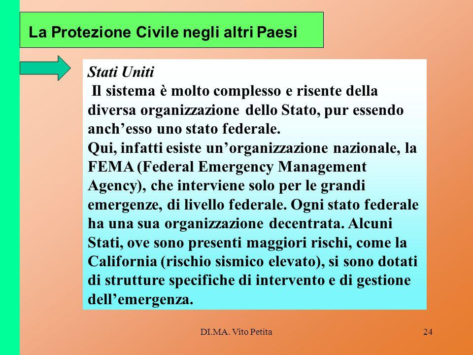 DI.MA. Vito Petita24 La Protezione Civile negli altri Paesi Stati Uniti Il sistema è molto complesso e risente della diversa organizzazione dello Stat