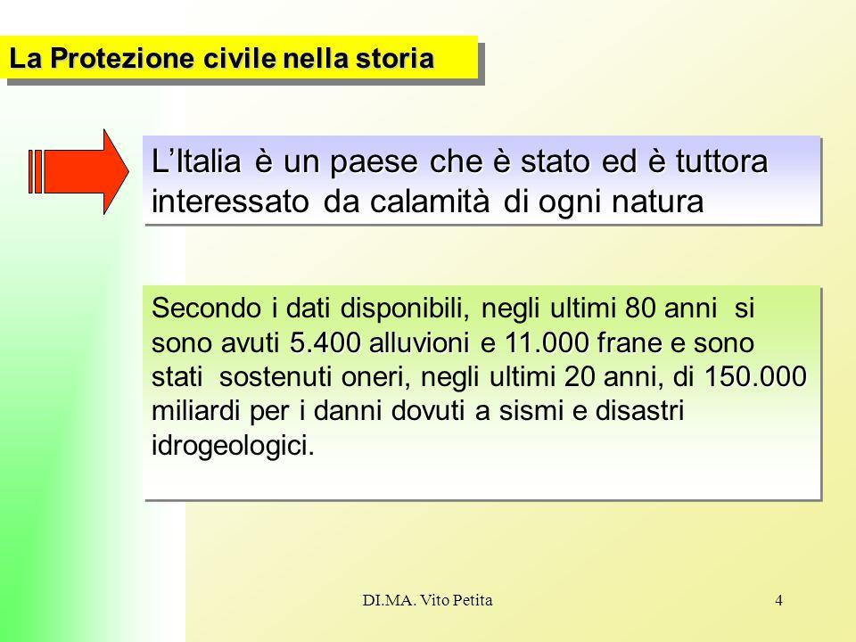 DI.MA. Vito Petita4 La Protezione civile nella storia L'Italia è un paese che è stato ed è tuttora interessato da calamità di ogni natura 5.400 alluvi
