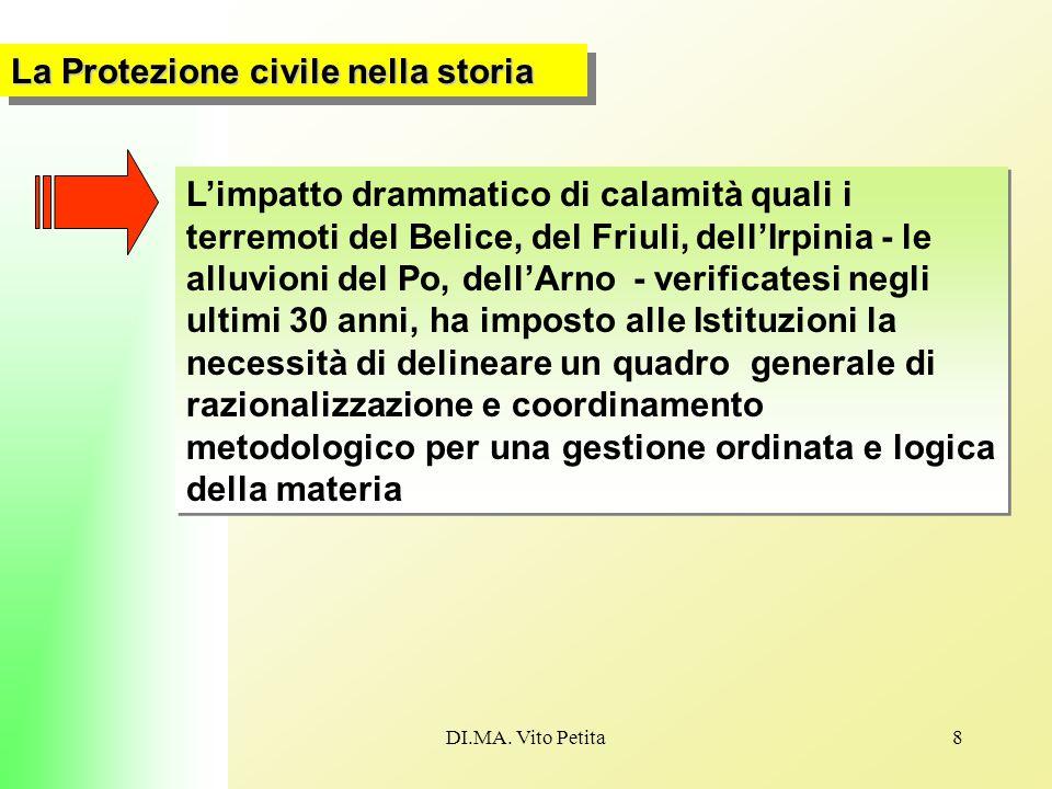 DI.MA. Vito Petita8 La Protezione civile nella storia L'impatto drammatico di calamità quali i terremoti del Belice, del Friuli, dell'Irpinia - le all