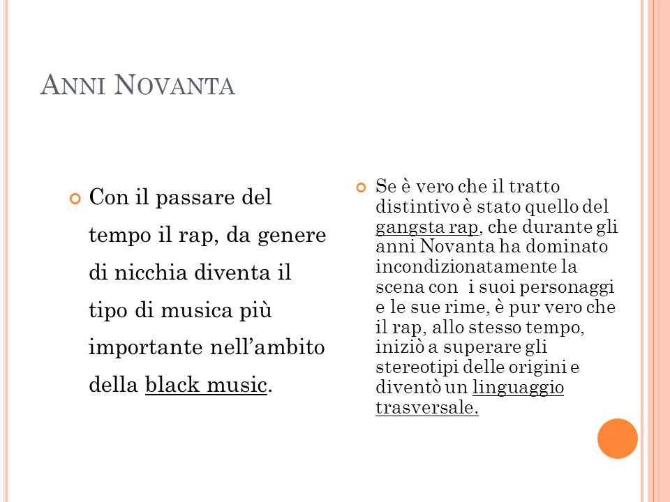 A NNI N OVANTA Con il passare del tempo il rap, da genere di nicchia diventa il tipo di musica più importante nell'ambito della black music. Se è vero