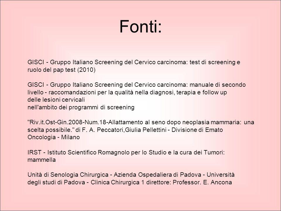 Fonti: GISCI - Gruppo Italiano Screening del Cervico carcinoma: test di screening e ruolo del pap test (2010) GISCI - Gruppo Italiano Screening del Ce