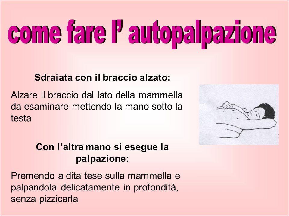 Sdraiata con il braccio alzato: Alzare il braccio dal lato della mammella da esaminare mettendo la mano sotto la testa Con l'altra mano si esegue la p