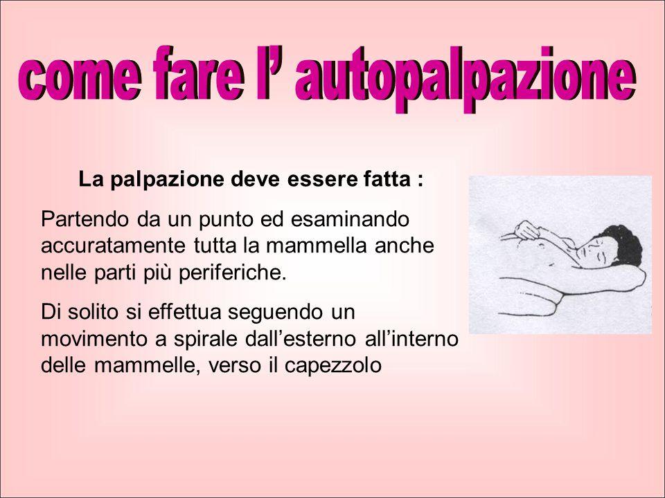 La palpazione deve essere fatta : Partendo da un punto ed esaminando accuratamente tutta la mammella anche nelle parti più periferiche.
