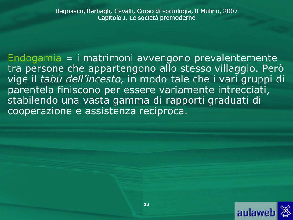 Bagnasco, Barbagli, Cavalli, Corso di sociologia, Il Mulino, 2007 Capitolo I. Le società premoderne 12 Endogamia = i matrimoni avvengono prevalentemen