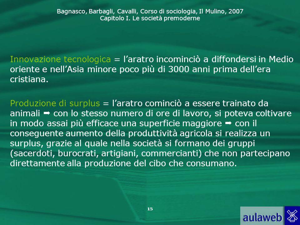 Bagnasco, Barbagli, Cavalli, Corso di sociologia, Il Mulino, 2007 Capitolo I. Le società premoderne 15 Innovazione tecnologica = l'aratro incominciò a