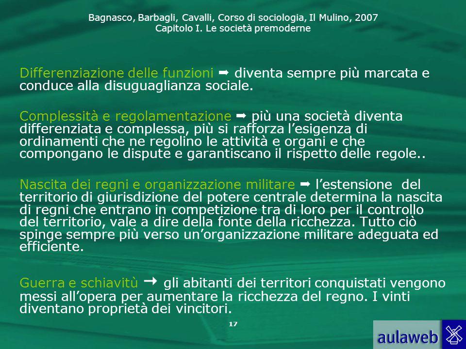 Bagnasco, Barbagli, Cavalli, Corso di sociologia, Il Mulino, 2007 Capitolo I. Le società premoderne 17 Differenziazione delle funzioni  diventa sempr