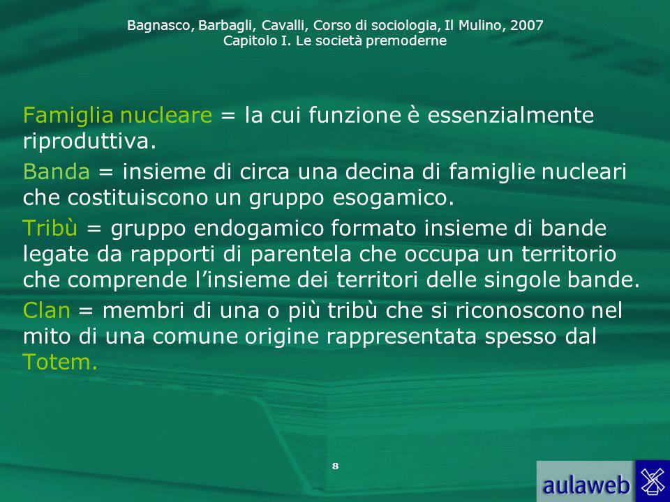 Bagnasco, Barbagli, Cavalli, Corso di sociologia, Il Mulino, 2007 Capitolo I. Le società premoderne 8 Famiglia nucleare = la cui funzione è essenzialm