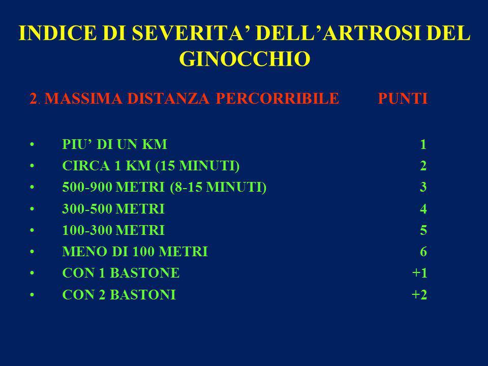 INDICE DI SEVERITA' DELL'ARTROSI DEL GINOCCHIO 2.