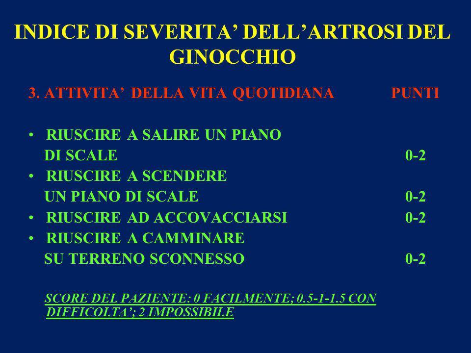 INDICE DI SEVERITA' DELL'ARTROSI DEL GINOCCHIO 3.