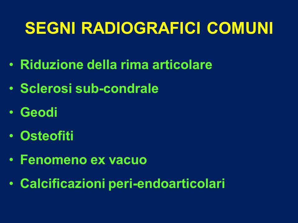 SEGNI RADIOGRAFICI COMUNI Riduzione della rima articolare Sclerosi sub-condrale Geodi Osteofiti Fenomeno ex vacuo Calcificazioni peri-endoarticolari