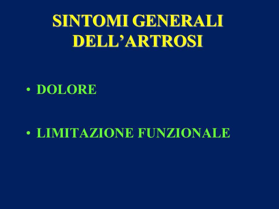 SINTOMI GENERALI DELL'ARTROSI DOLORE LIMITAZIONE FUNZIONALE