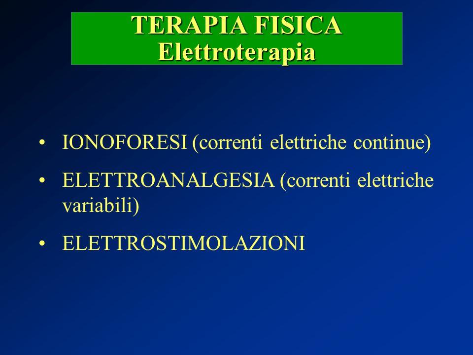 TERAPIA FISICA Elettroterapia IONOFORESI (correnti elettriche continue) ELETTROANALGESIA (correnti elettriche variabili) ELETTROSTIMOLAZIONI