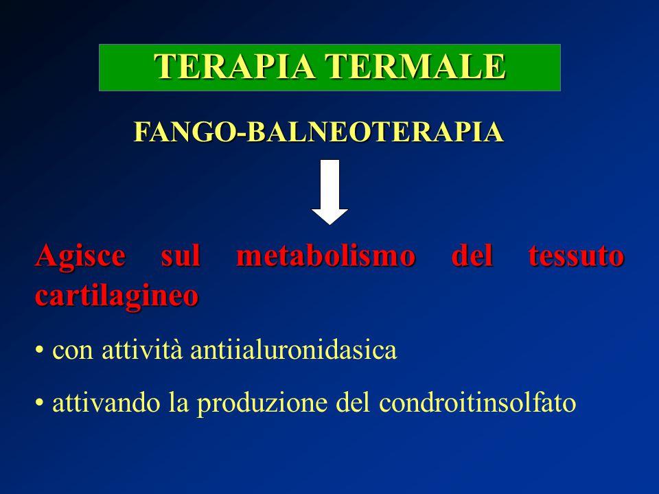 TERAPIA TERMALE FANGO-BALNEOTERAPIA Agisce sul metabolismo del tessuto cartilagineo con attività antiialuronidasica attivando la produzione del condro