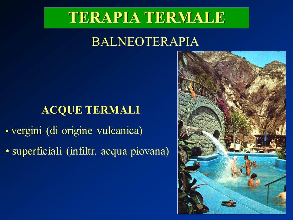 TERAPIA TERMALE BALNEOTERAPIA ACQUE TERMALI vergini (di origine vulcanica) superficiali (infiltr. acqua piovana)