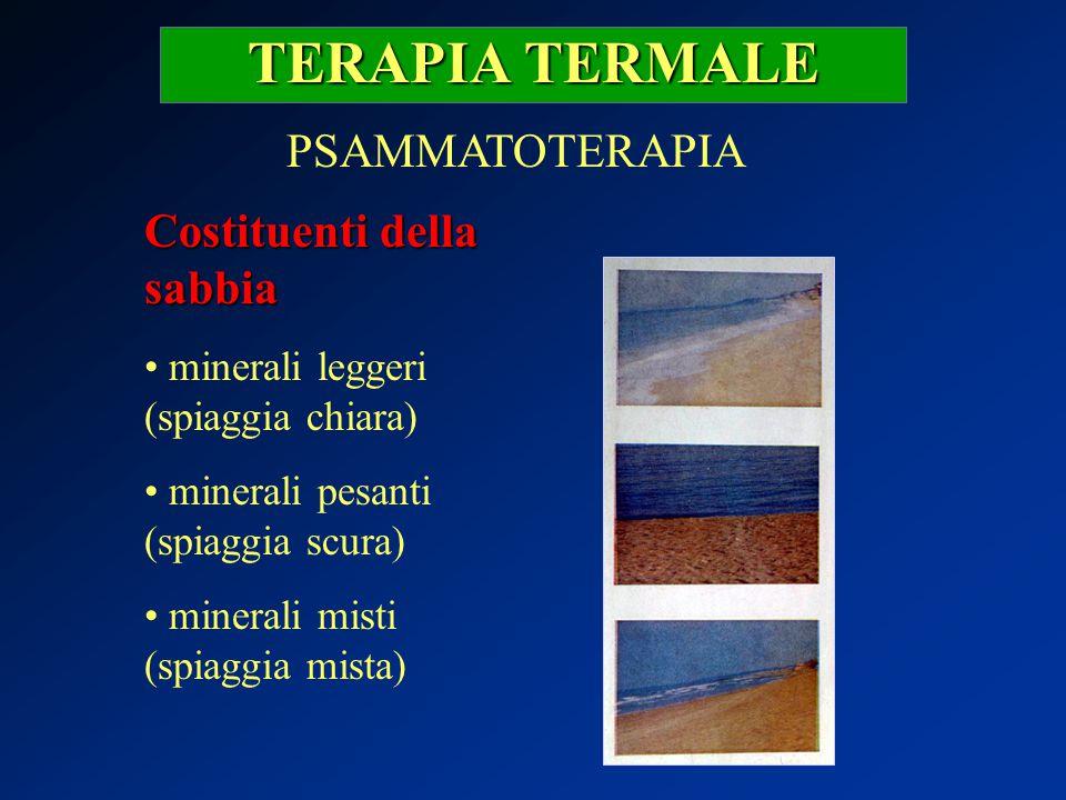 TERAPIA TERMALE PSAMMATOTERAPIA Costituenti della sabbia minerali leggeri (spiaggia chiara) minerali pesanti (spiaggia scura) minerali misti (spiaggia
