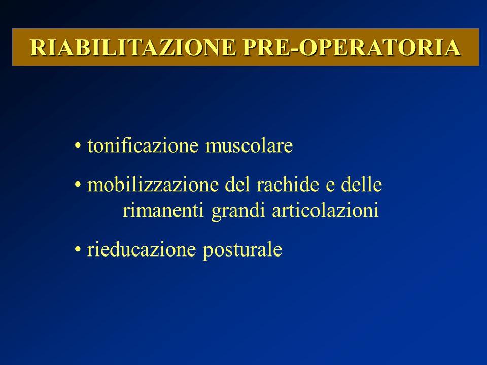 RIABILITAZIONE PRE-OPERATORIA tonificazione muscolare mobilizzazione del rachide e delle rimanenti grandi articolazioni rieducazione posturale