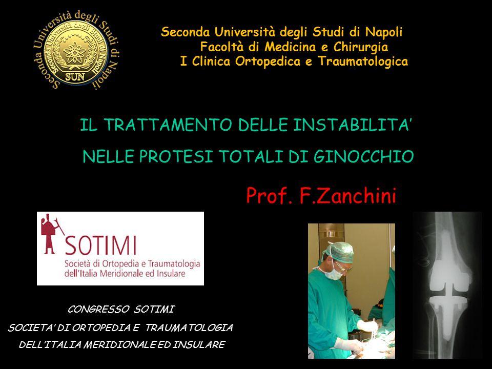 Seconda Università degli Studi di Napoli Facoltà di Medicina e Chirurgia I Clinica Ortopedica e Traumatologica IL TRATTAMENTO DELLE INSTABILITA' NELLE
