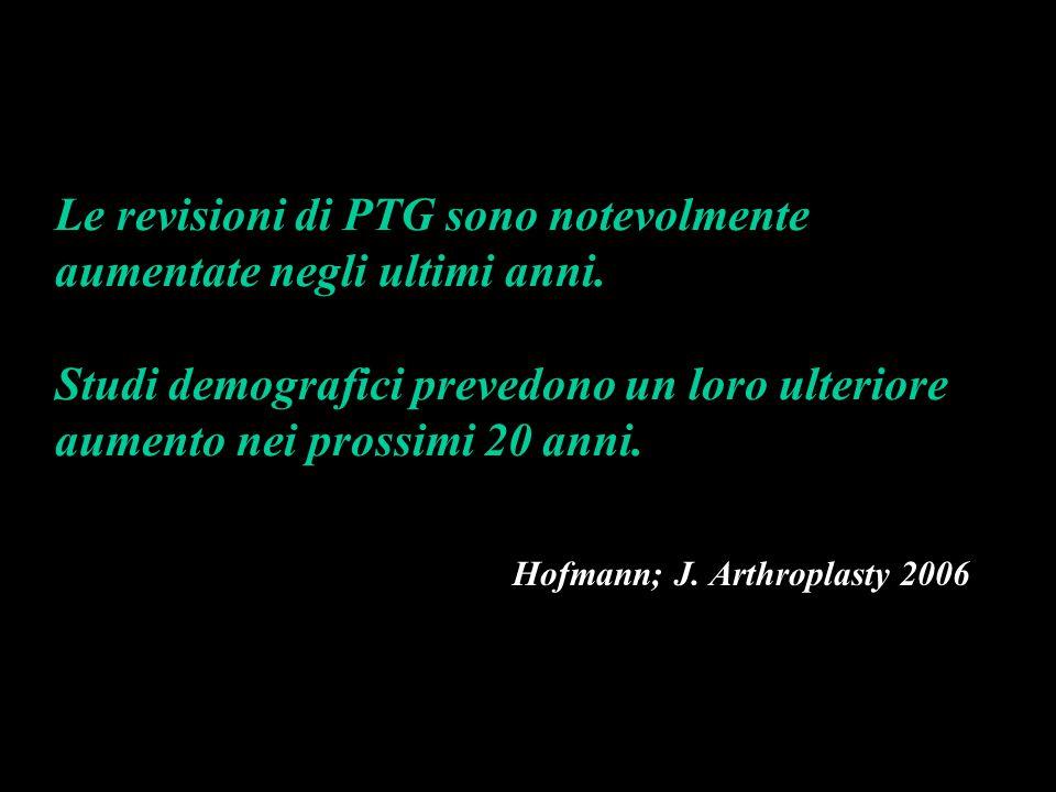 Le revisioni di PTG sono notevolmente aumentate negli ultimi anni. Studi demografici prevedono un loro ulteriore aumento nei prossimi 20 anni. Hofmann