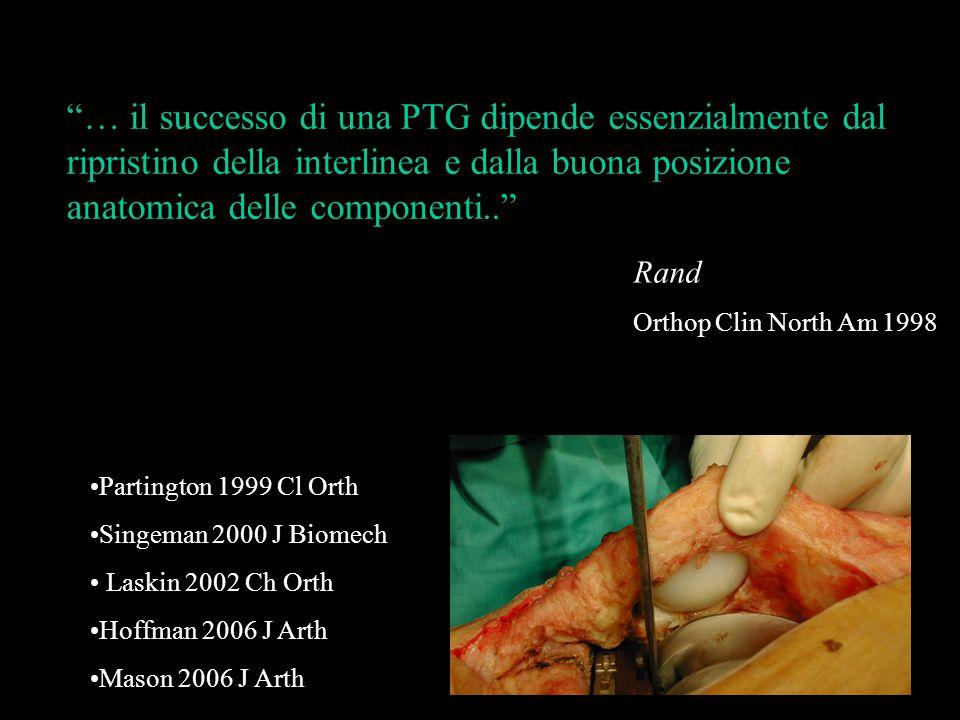 """""""… il successo di una PTG dipende essenzialmente dal ripristino della interlinea e dalla buona posizione anatomica delle componenti.."""" Rand Orthop Cli"""