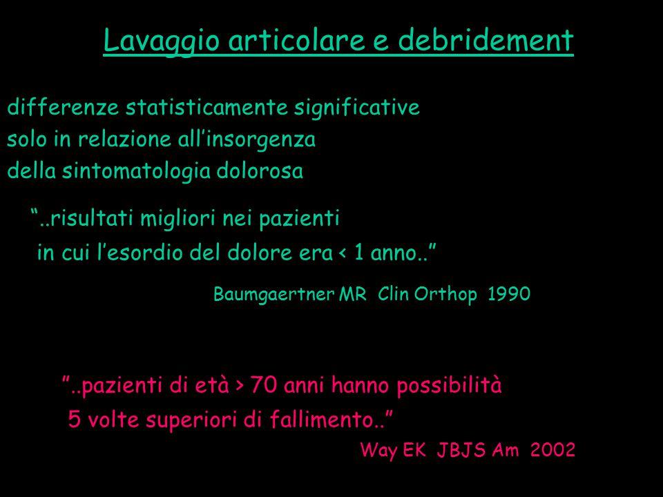 """Baumgaertner MR Clin Orthop 1990 differenze statisticamente significative solo in relazione all'insorgenza della sintomatologia dolorosa """"..risultati"""