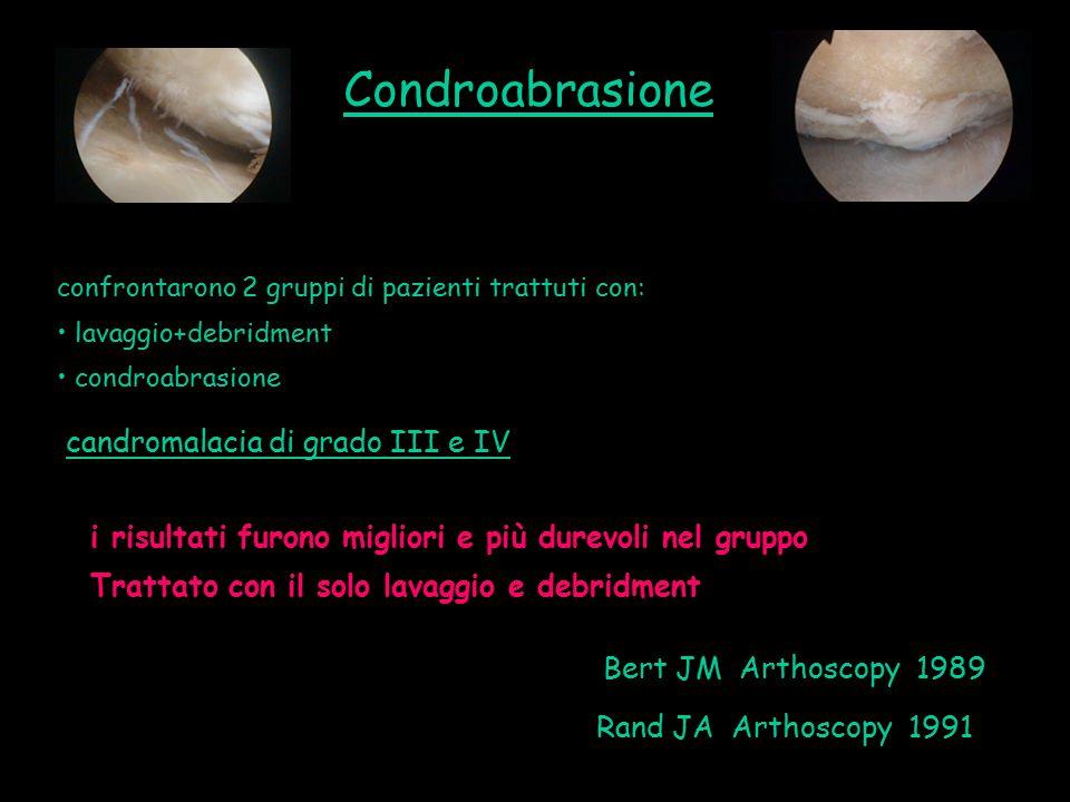 confrontarono 2 gruppi di pazienti trattuti con: lavaggio+debridment condroabrasione Bert JM Arthoscopy 1989 Rand JA Arthoscopy 1991 candromalacia di