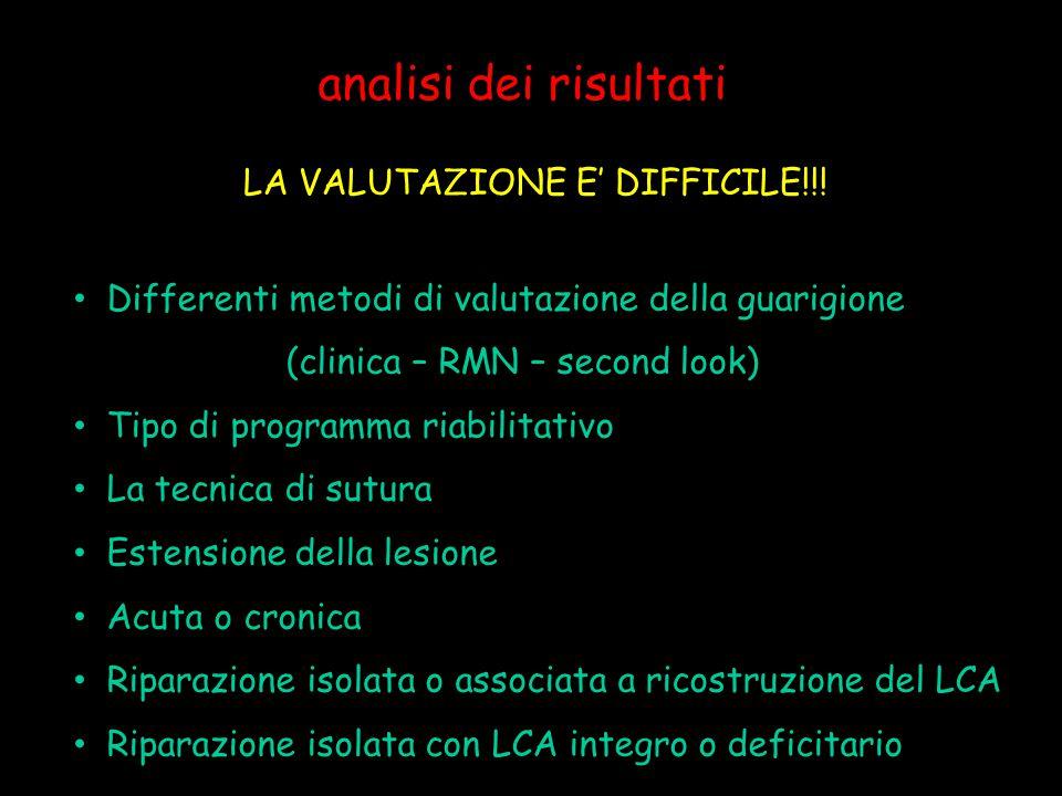 analisi dei risultati LA VALUTAZIONE E' DIFFICILE!!! Differenti metodi di valutazione della guarigione (clinica – RMN – second look) Tipo di programma
