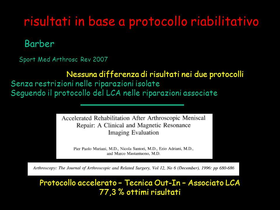 risultati in base a protocollo riabilitativo Barber Sport Med Arthrosc Rev 2007 Nessuna differenza di risultati nei due protocolli Senza restrizioni n