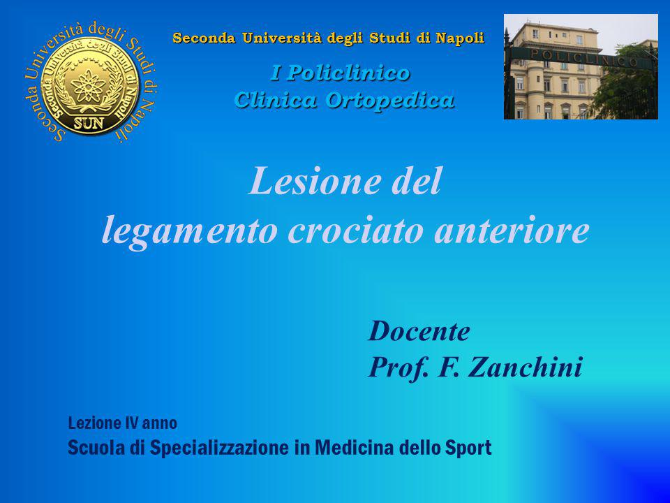 Lesione del legamento crociato anteriore Docente Prof. F. Zanchini Seconda Università degli Studi di Napoli I Policlinico Clinica Ortopedica Clinica O