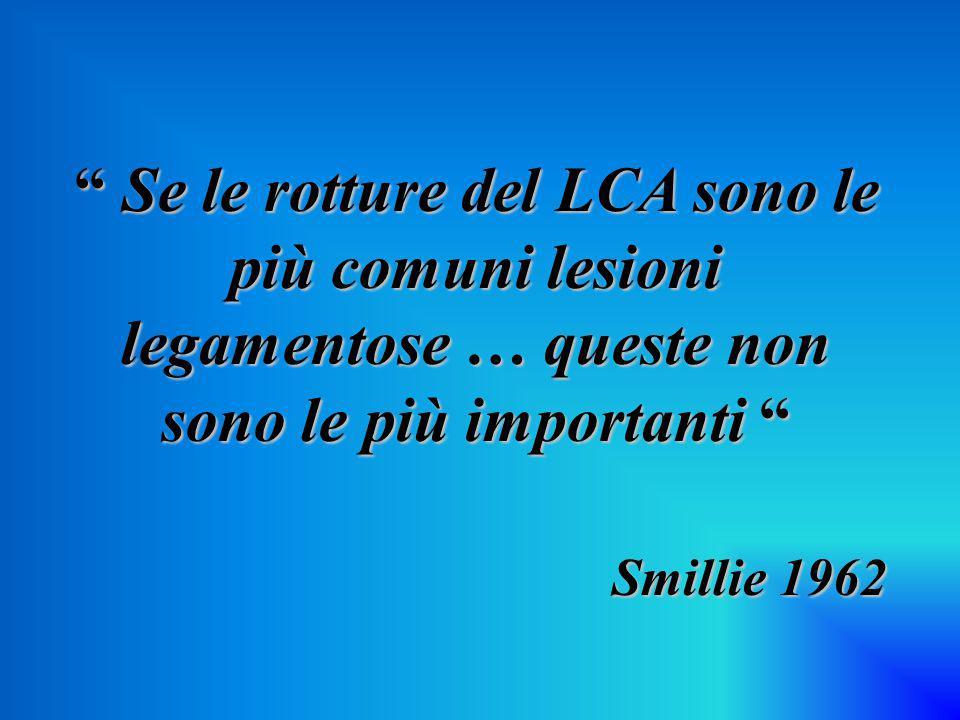 """"""" Se le rotture del LCA sono le più comuni lesioni legamentose … queste non sono le più importanti """" Smillie 1962 Smillie 1962"""
