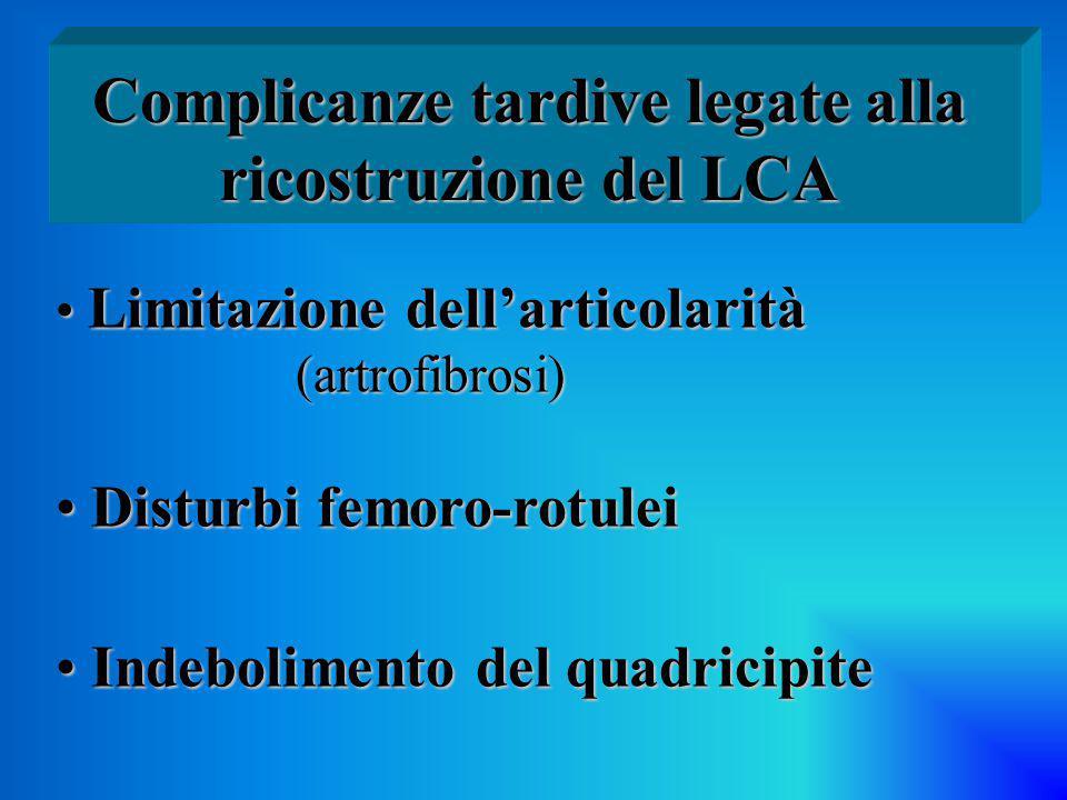 Limitazione dell'articolarità Limitazione dell'articolarità (artrofibrosi) (artrofibrosi) Disturbi femoro-rotulei Disturbi femoro-rotulei Indeboliment