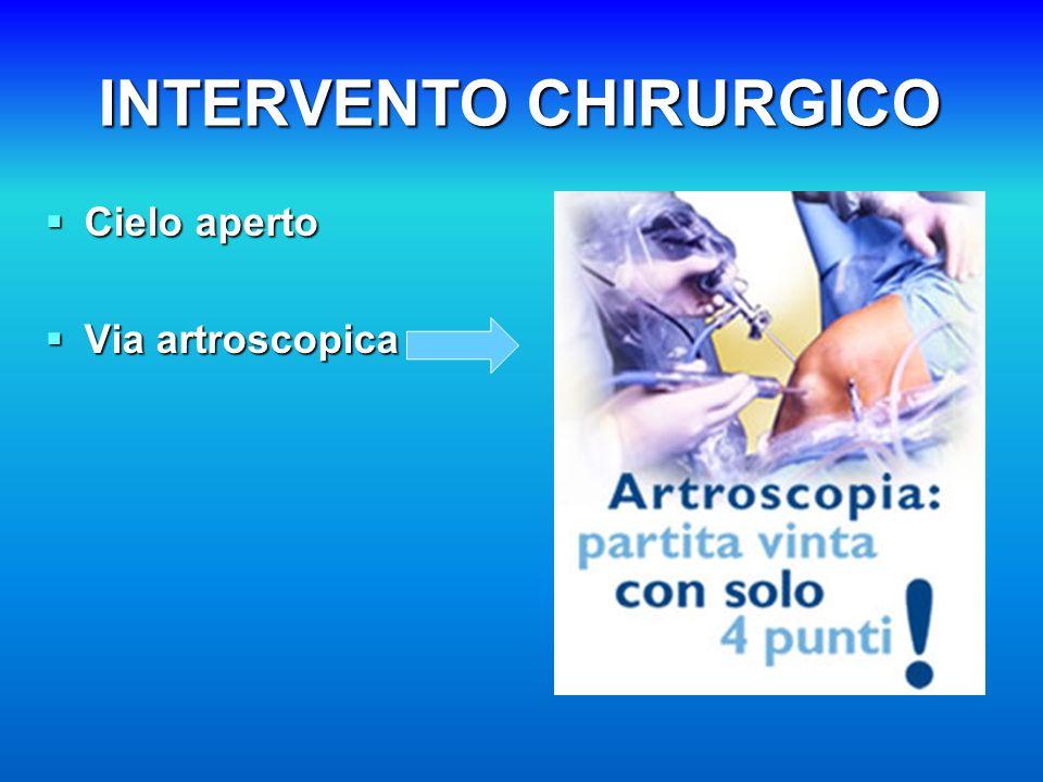 INTERVENTO CHIRURGICO  Cielo aperto  Via artroscopica