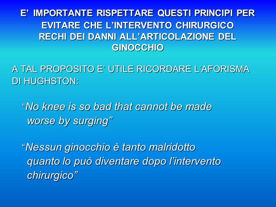 E' IMPORTANTE RISPETTARE QUESTI PRINCIPI PER EVITARE CHE L'INTERVENTO CHIRURGICO RECHI DEI DANNI ALL'ARTICOLAZIONE DEL GINOCCHIO A TAL PROPOSITO E' UTILE RICORDARE L'AFORISMA DI HUGHSTON: No knee is so bad that cannot be made No knee is so bad that cannot be made worse by surging worse by surging Nessun ginocchio è tanto malridotto Nessun ginocchio è tanto malridotto quanto lo può diventare dopo l'intervento quanto lo può diventare dopo l'intervento chirurgico chirurgico