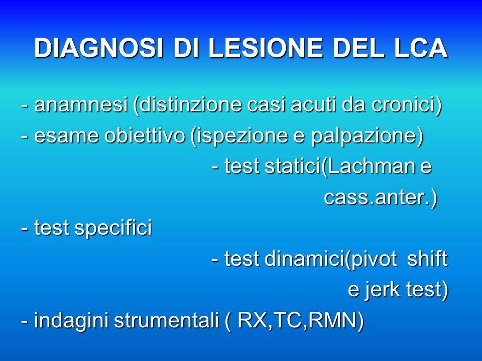 DIAGNOSI DI LESIONE DEL LCA - anamnesi (distinzione casi acuti da cronici) - esame obiettivo (ispezione e palpazione) - test statici(Lachman e - test statici(Lachman e cass.anter.) cass.anter.) - test specifici - test dinamici(pivot shift - test dinamici(pivot shift e jerk test) e jerk test) - indagini strumentali ( RX,TC,RMN)