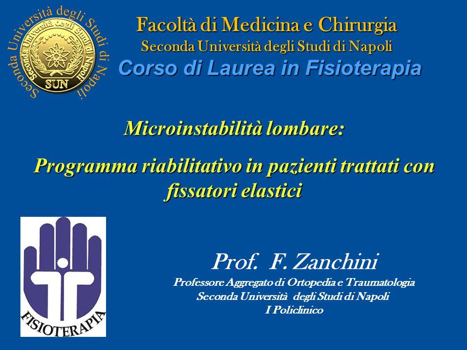 Facoltà di Medicina e Chirurgia Seconda Università degli Studi di Napoli Corso di Laurea in Fisioterapia Microinstabilità lombare: Programma riabilita