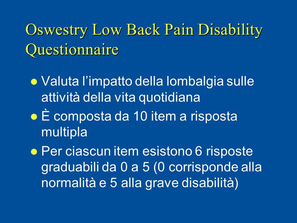 Oswestry Low Back Pain Disability Questionnaire Valuta l'impatto della lombalgia sulle attività della vita quotidiana È composta da 10 item a risposta