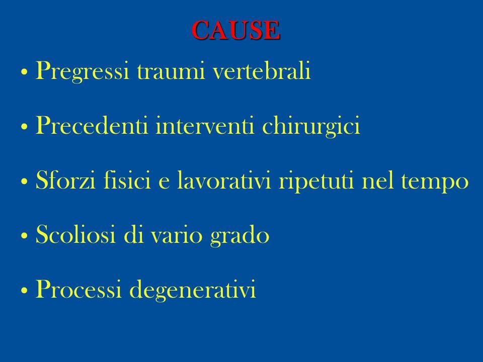 DIAGNOSI Clinica: Lombalgia, sciatalgia, cruralgia, deformità del rachide prevalentemente in assenza di deficit neurologici.