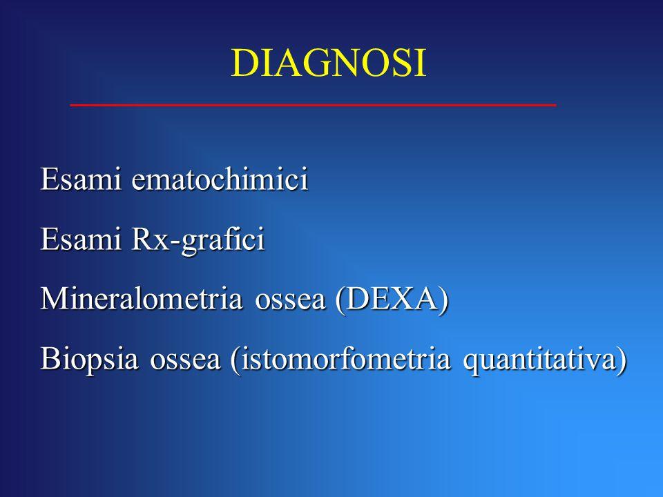 Esami ematochimici Esami Rx-grafici Mineralometria ossea (DEXA) Biopsia ossea (istomorfometria quantitativa) DIAGNOSI