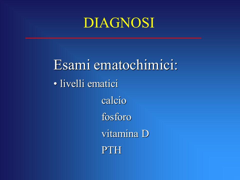 Esami ematochimici: livelli ematici livelli ematici calcio calciofosforo vitamina D PTH DIAGNOSI