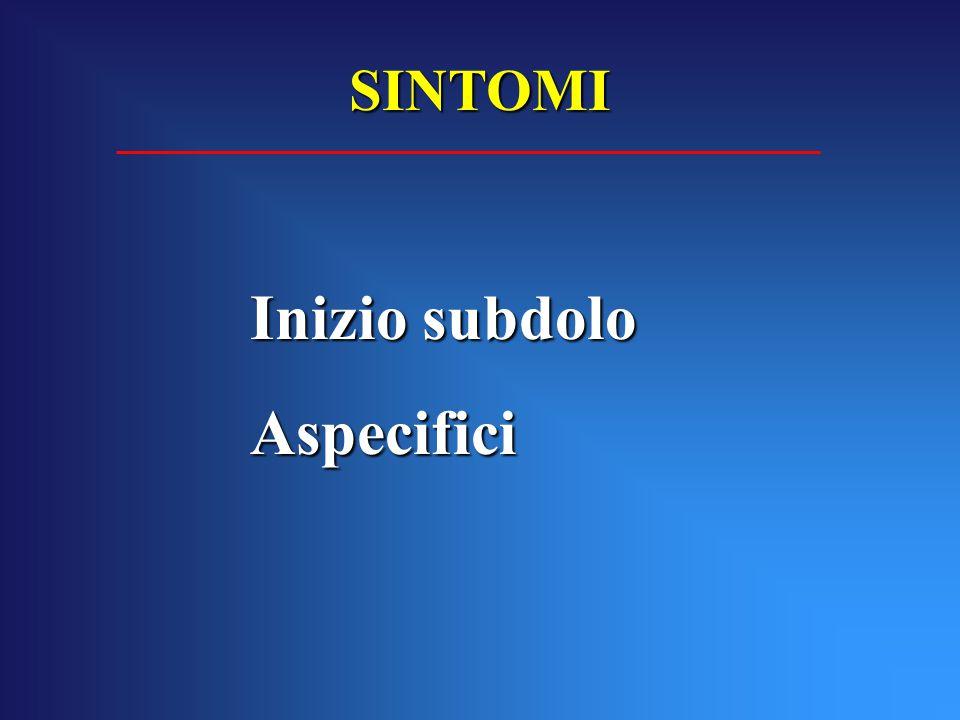 Inizio subdolo Aspecifici SINTOMI
