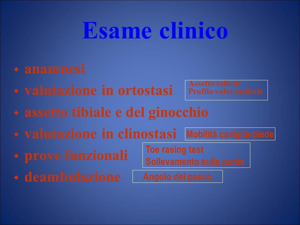 Esame clinico  anamnesi  valutazione in ortostasi  assetto tibiale e del ginocchio  valutazione in clinostasi  prove funzionali  deambulazione A