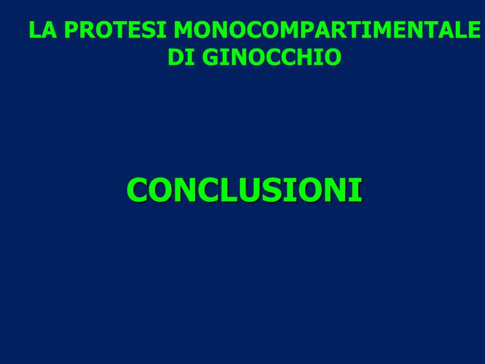LA PROTESI MONOCOMPARTIMENTALE DI GINOCCHIO CONCLUSIONI