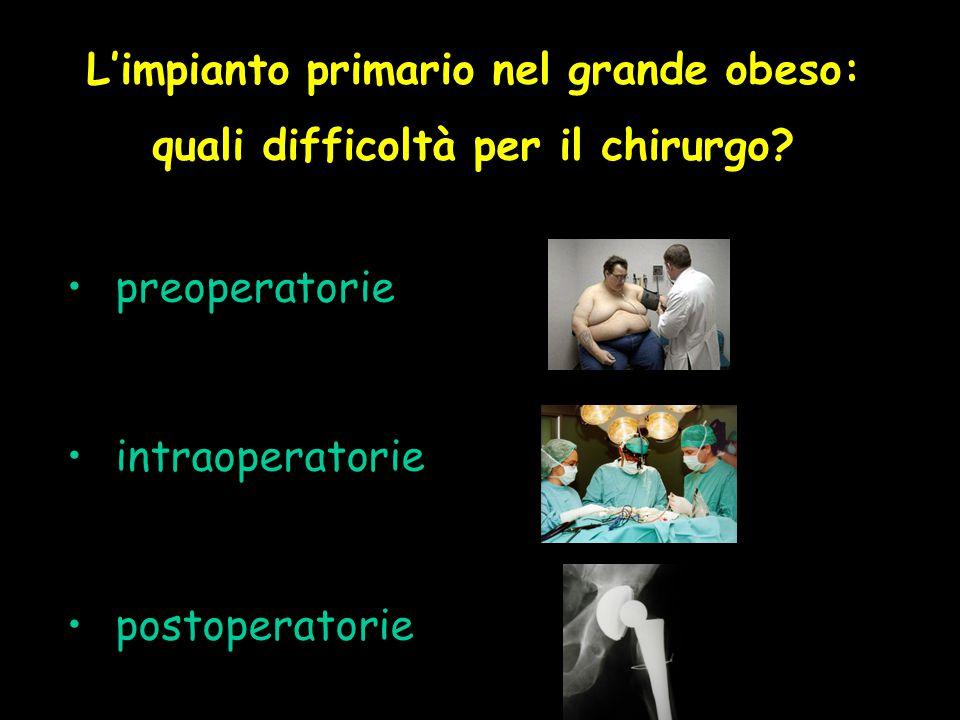 L'impianto primario nel grande obeso: quali difficoltà per il chirurgo? preoperatorie intraoperatorie postoperatorie